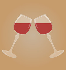 Two glasses with red wine mirrored