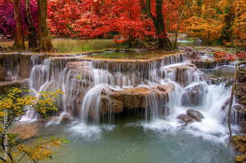 Fotobehang Watervallen Waterfall in deep rain forest jungle (Huay Mae Kamin Waterfall i