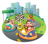 Animals and racing cars