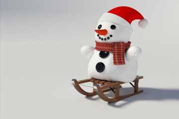snowman sitting on snow sleds