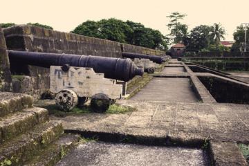 vintage cannons at port santiago
