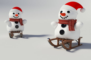 Two snowman,and wooden sleds with him