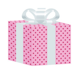 Pink Dotted Gift Box with White Ribbon