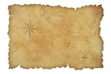 Pirates' parchment treasure map isolated with clipping path