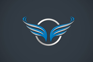 wing business logo abstract vector