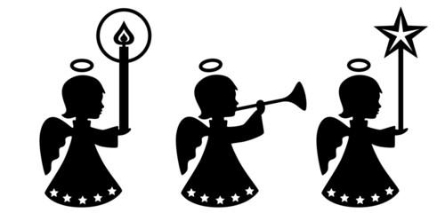 Set: 3 Engelmädchen mit Kerze, Fanfare, Stern – freigestellt