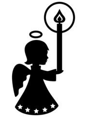Süßes Engelmädchen mit Kerze, Vektor, schwarz, freigestellt