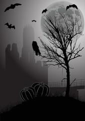grey halloween landscape at full moon