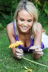 Gorgeous Woman with Yellow Flower