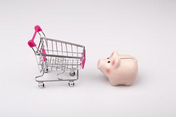shopping cart versus pig money box