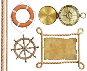 nautical objects rope, treasure map, lifebuoy, compass isolated