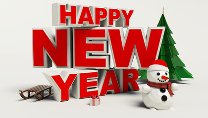 Happy New Year 3d text, snowman,sleg,gift,cristmas tree,high res