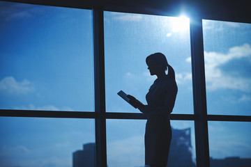 Silhouette of female employee