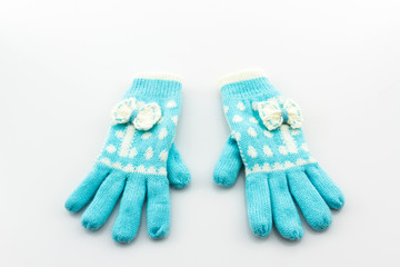 Colorful woolen glove .