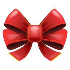red festive bow with knot isolated vector