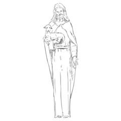 Vector Sketch Jesus with a Lamb