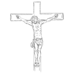 Vector  Sketch Crucifix. Jesus on the Cross.