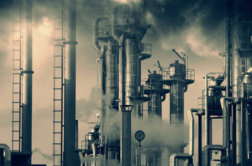 oil and gas power industry, smoke and smog