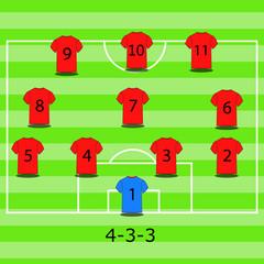Soccer team tactical scheme. Vector illustration.