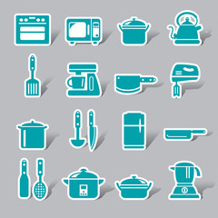 Kitchen Utensils and Appliances Color Icon Label