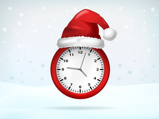 red running clock covered with Santa cap