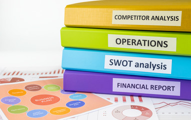 Business documents and binders, strategic planning for managers