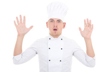 shocked man in chef uniform isolated on white