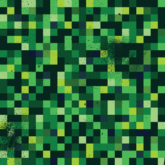 A green pixel art style background with a grunge texture