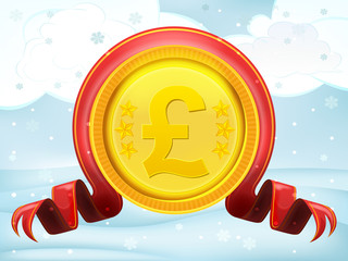 golden Pound coin with xmas bow at winter scenery vector