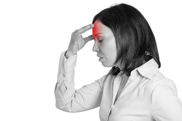 Black and white woman having headache with red area of pain