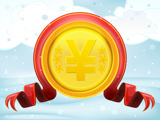 golden Yuan coin with xmas bow at winter scenery vector