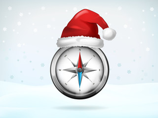 compass navigation covered with Santa cap