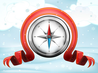 compass navigation with xmas bow at winter scenery vector