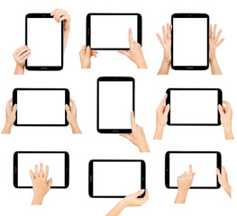 tablet computer isolated in a hand . collections