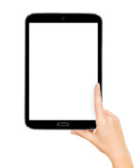 female teen hands using tablet pc with white screen, isolated