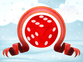 lucky dice with xmas bow at winter scenery vector