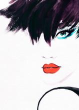 портрет женщины .abstract акварель .fashion фон