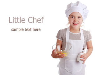 Little girl dressed as a cook
