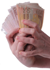 Hands with a lot of bills