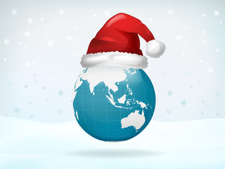 Asia globe view covered with Santa cap