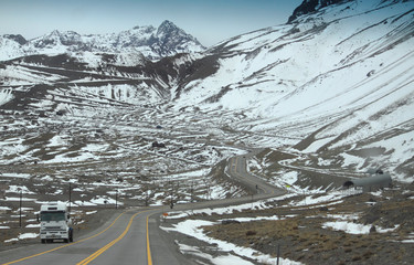 snow mountain road on the border of Argentina and Chile