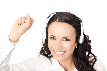 Happy gesturing support phone operator, isolated
