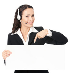 Support phone operator with signboard, isolated