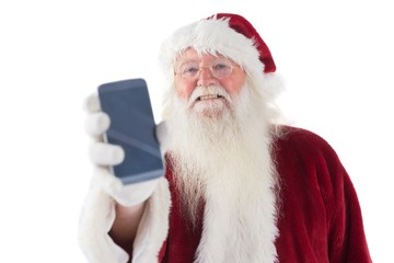 Santa Claus shows a smartphone