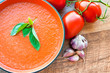 Bowl of tomato soup gaspacho - 72403072