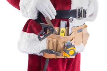 Father Christmas is wearing a tool belt