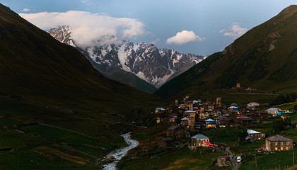 Ushguli village in the Caucasus valley near Shkhara in Georgia