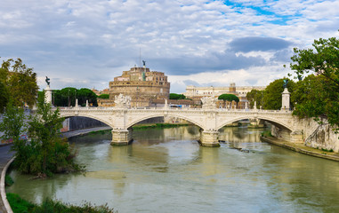 Castle Sant Angelo and river Tiber in Roma. Italy