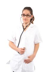 Frau im Arztkittel