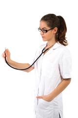 Frau mit Stethoskop